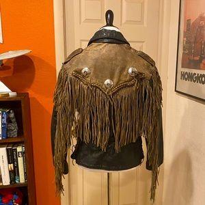 Heavy vintage fringe leather biker jacket
